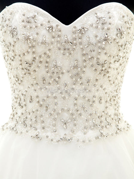 Princess Aline Wedding Gown,Beaded Wedding Dress,Strapless Wedding Dresses,WD00028