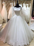 Princess Ball Gown Wedding Dress with Sleeves,Classic Wedding Gown,WD00339