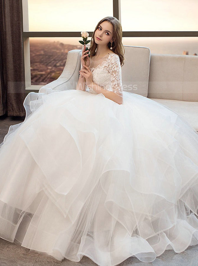 Princess Ball Gown Wedding Dresses Ruffled Bridal Gown Wd00354