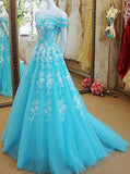 Princess Blue Tulle Prom Dress,Off the Shoulder Prom Dress with Appliques,Girl Party Dress PD00128
