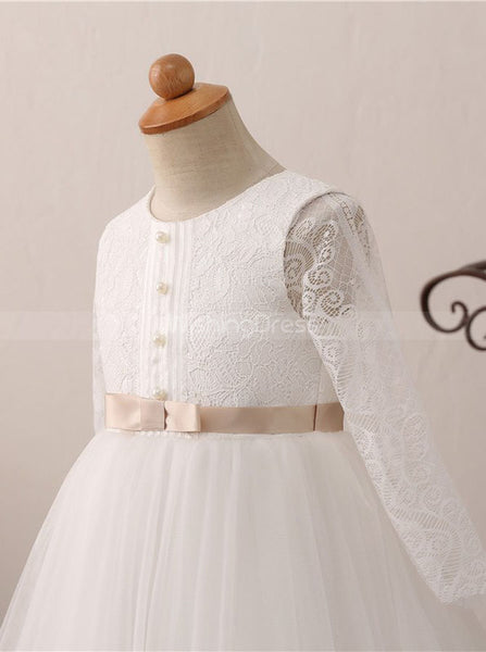 Princess Flower Girl Dress Ball Gown,First Communion Dress with Sleeves,FD00051