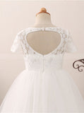 Princess Flower Girl Dresses,First Communion Dress,Full Length Flower Girl Dress,FD00043