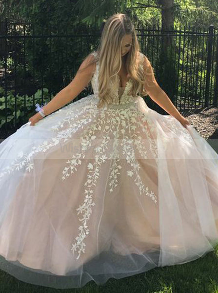 Princess Tulle Prom Dress with Floral Appliques,Girls Graduation Dress,Formal Evening Dress PD00138