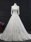Princess Wedding Dress,Off the Shoulder Wedding Dress,Bridal Dress with Sleeves,WD00142