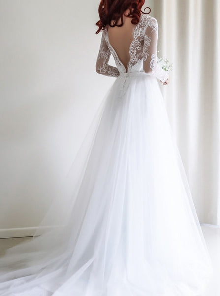 Princess Wedding Dress,Wedding Dresses with Sleeves,Tulle Bridal Dresses,WD00097