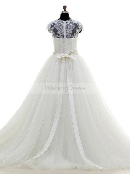 Princess Wedding Dress with Belt,Lace Tulle Wedding Dresses,Elegant Wedding Gown,WD00040