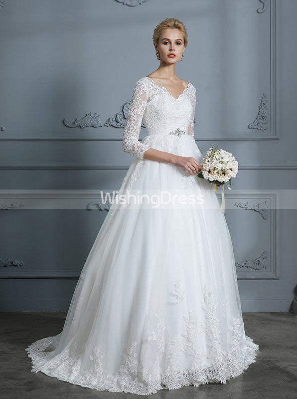 Wedding Dress With Sleeves.Princess Wedding Dresses Ball Gown Wedding Dress With Sleeves Classic Wedding Gown Wd00296