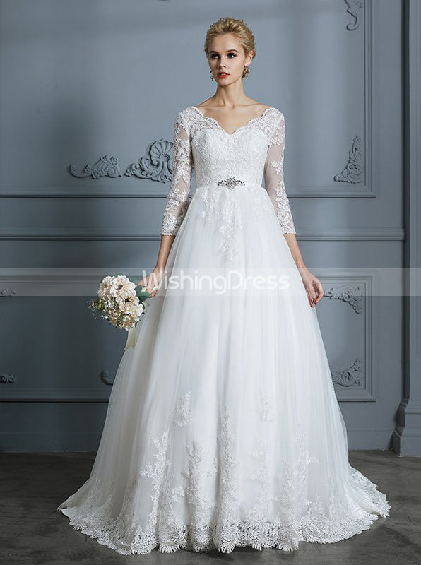 Princess Wedding Dresses Ball Gown Wedding Dress With Sleeves Classic Wishingdress