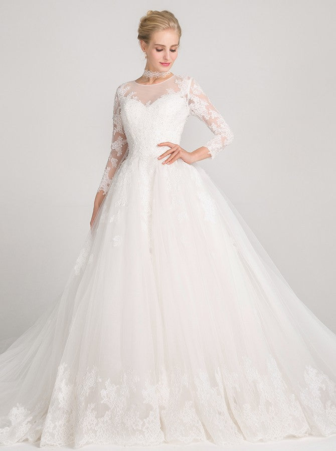 Princess Wedding Dresseslong Sleeves Wedding Gownlace Wedding Gownromantic Wedding Gownwd00013