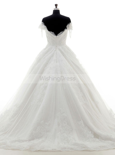 Princess Wedding Dresses,Off Shoulder Wedding Dress,Short Sleeves Wedding Gown,WD00105