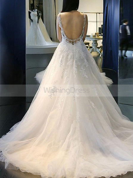 Princess Wedding Dresses,Open Back Wedding Dress,A-line Wedding Dress,Romantic Bridal Dress,WD00216