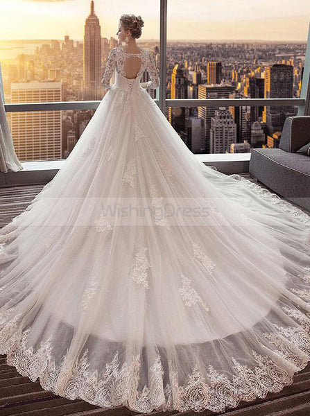 Princess Wedding Dresses,Wedding Dress with Sleeves,Tulle Long Train Bridal Dress,WD00188