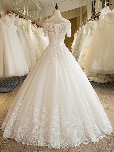 Princess Wedding Dresses,Wedding Gown with Short Sleeves,Floor Length Bridal Dress,WD00285