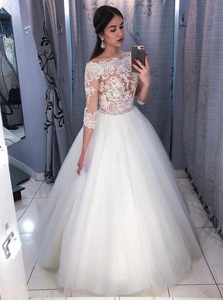 Princess Wedding Gown,Off the Shoulder Bridal Gown with Sleeves,WD00327