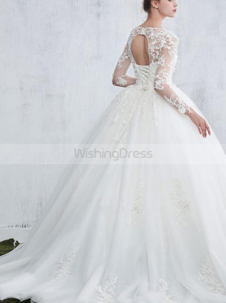 Princess Wedding Gown,Wedding Dresses with Long Sleeves,Ball Gown Wedding Dress,WD00098