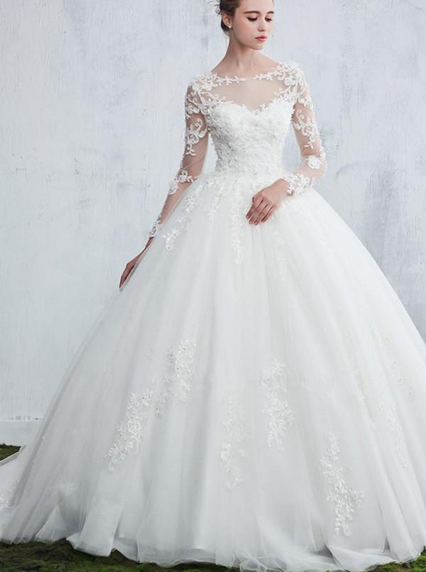 Princess Wedding Gown Wedding Dresses With Long Sleeves Ball Gown