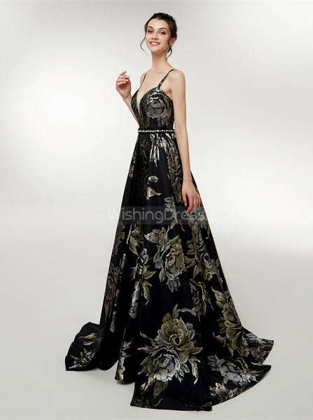 Printed Prom Dress with Straps,Fashion Prom Dress for Teens,PD00385