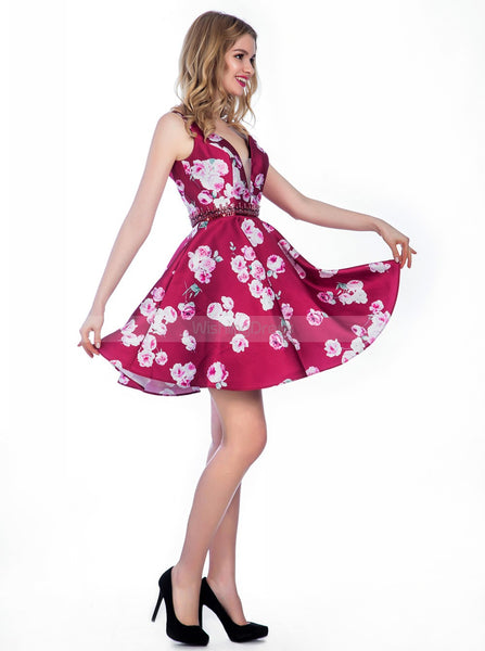 Printing Short Homecoming Dresses,A-line Homecoming Dress,Short Homecoming Dress,HC00033