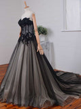 Classic Wedding Dresses,Black Wedding Dress,Strapless Bridal Dress,Princess Wedding Dress,WD00090