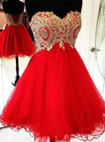 Red Homecoming Dresses,A-line Sweet 16 Dress,Empire Homecoming Dress,HC00026