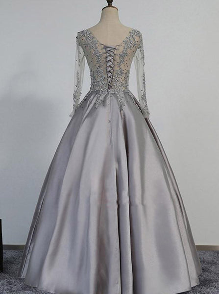Prom Dress with Long Sleeves,Corset Prom Dress,Satin Prom Dress,Classy Prom Dress,PD00199