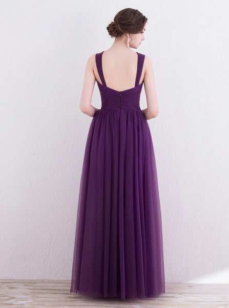 Purple Bridesmaid Dress,Tulle Long Bridesmaid Dress,Strappy Bridesmaid Dress,BD00134