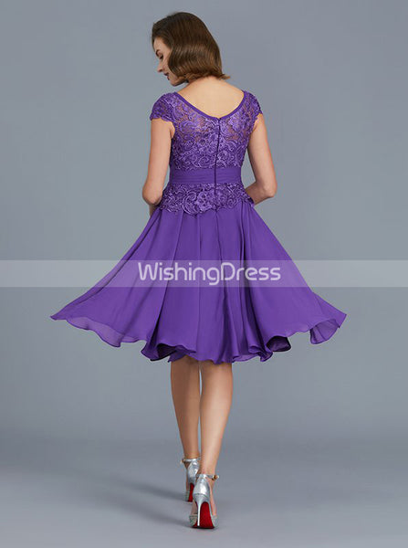 Purple Mother of the Bride Dresses,Short Mother of the Bride Dress with Cap Sleeves,MD00031