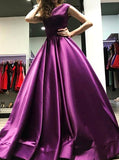 Purple Princess Prom Gown,Modest Satin A Line Evening Dress,Simple Prom Dress for Teens PD00099