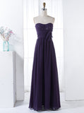 Purple Strapless Bridesmaid Dress,Chiffon Bridesmaid Dress,Long Bridesmaid Dress,BD00146