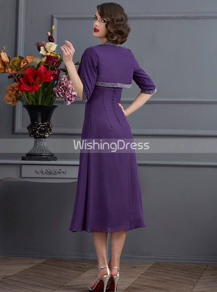 Purple Tea Length Mother of the Bride Dresses,Chiffon Mother of the Bride Dress with Jacket,MD00051