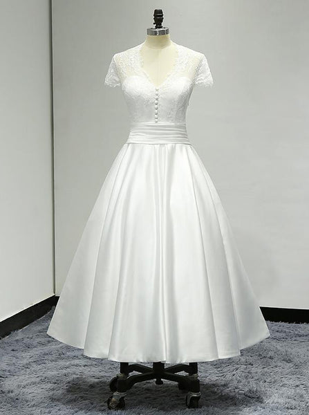 Simple Wedding Reception Dresses,Short Wedding Dress with Sleeves,WD00315