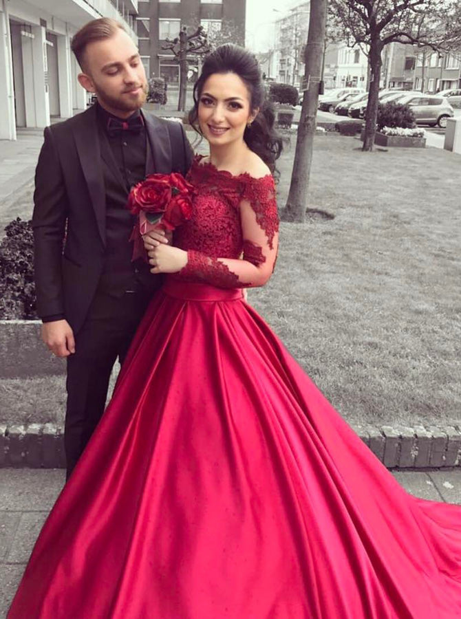 Red A-line Prom Gown,Off the Shoulder Prom Dress with Long Sleeves,Plus  Size Prom Dress PD00042