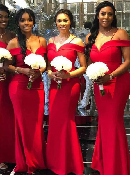 Red Bridesmaid Dress with Straps,Satin Mermaid Bridesmaid Dress,Full Length Bridesmaid Dress,BD00102