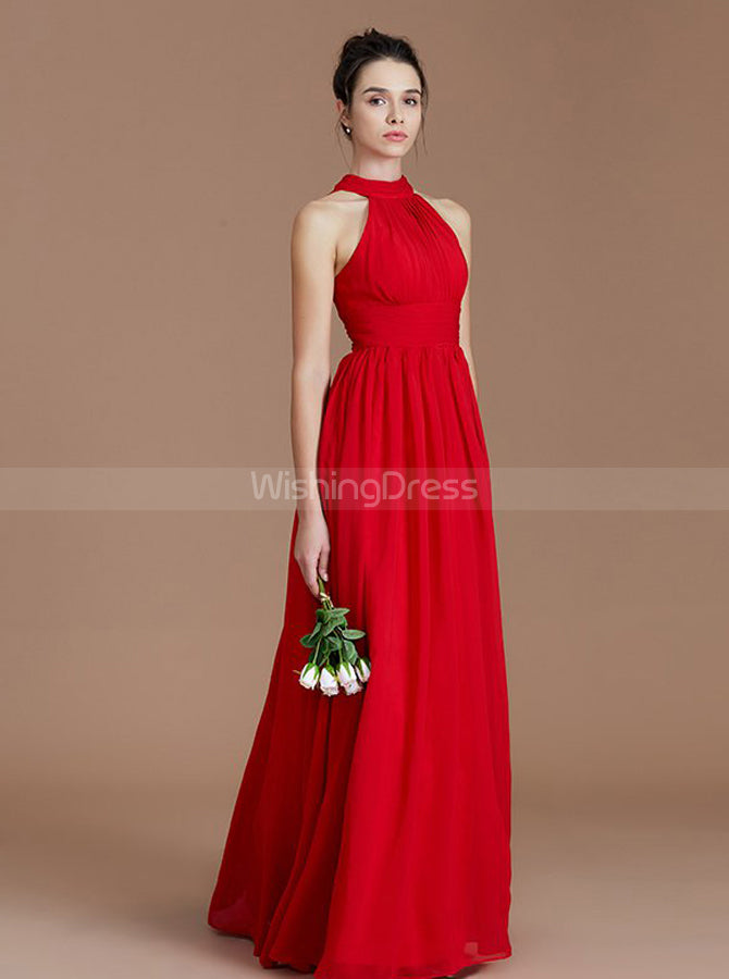 8416ec6ee00a Red Bridesmaid Dresses,Chiffon Long Bridesmaid Dress,Bridesmaid Dress with  Slit,BD00226