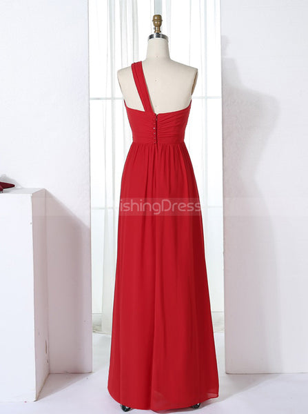 Red Bridesmaid Dresses,One Shoulder Bridesmaid Dress,Long Bridesmaid Dress,BD00305