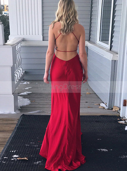Red Column Prom Dress,Simple Evening Dress,Backless Evening Dress PD00074