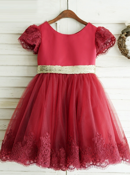 Red Flower Girl Dresses,Flower Girl Dress with Short Sleeves,FD00042