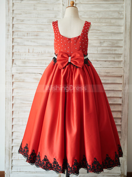 Red Flower Girl Dresses,Full Length Girl Party Dress,Beautiful Flower Girl Dress,FD00077
