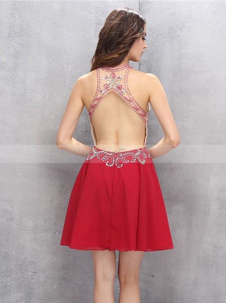 Red Homecoming Dress,Open Back Cocktail Dress,Sexy Homecoming Dress,HC00124