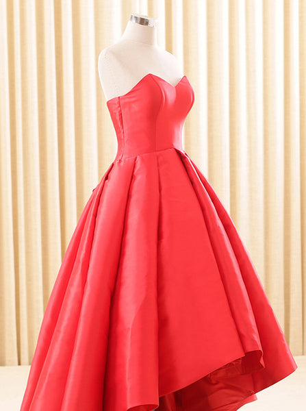 Red Homecoming Dresses,High Low Homecoming Dress,Satin Homecoming Dress,HC00191