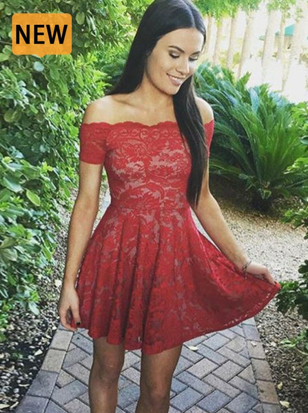 Red Homecoming Dresses,Lace Homecoming Dress,Off the Shoulder Homecoming Dress,HC00048