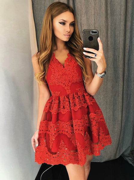 Red Homecoming Dresses,Lace Homecoming Dress,Short Homecoming Dress,HC00181