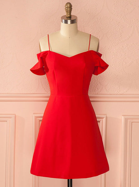 Red Homecoming Dresses,Straps Homecoming Dress,Simple Homecoming Dress,HC00162