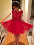 Red Homecoming Dresses,Tulle Homecoming Dress,Beaded Homecoming Dress,HC00078