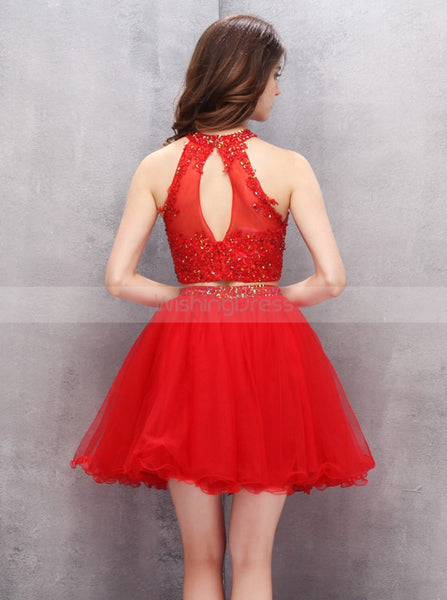 Red Homecoming Dresses,Two Piece Homecoming Dress,Freshman Homecoming Dress,HC00063