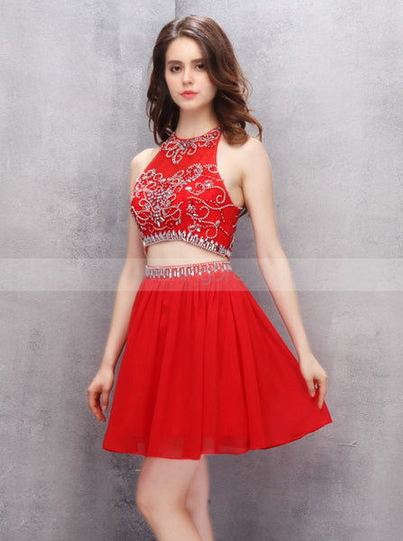 Red Homecoming Dresses,Two Piece Homecoming Dress,Short Homecoming Dress,HC00113