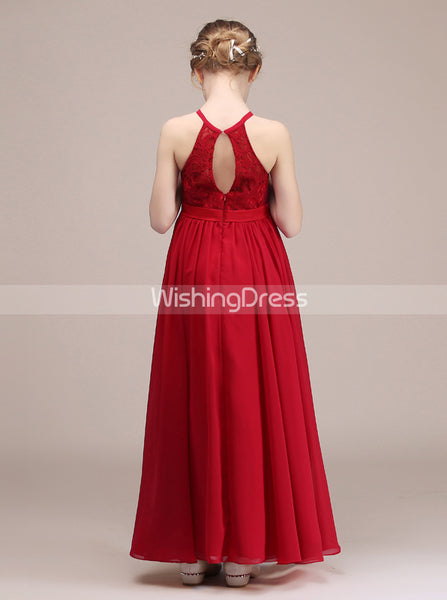 Red Long Junior Bridesmaid Dress,Chiffon Simple Junior Bridesmaid Dress,JB00041