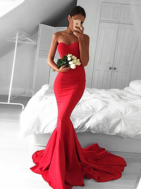 Red Mermaid Prom Dress Fitted Prom Dress With Train Modest Prom