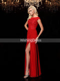 Red Mother of The Bride Dresses,Mother Dress with Slit,MD00061