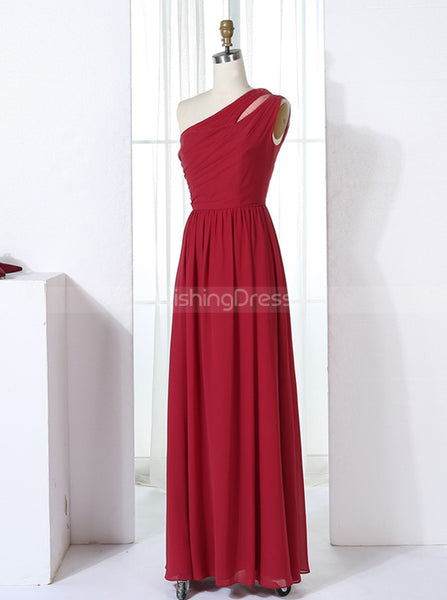 Red One Shoulder Bridesmaid Dresses,Chiffon Long Bridesmaid Dress,BD00310